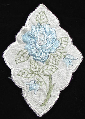 "Flower Embroidered with Blue and Green colors 3 7/8"" x 2.5"""