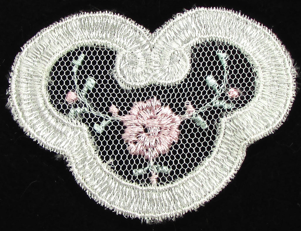 "Flower with embroidered pink lace 2.25"" x 3"""