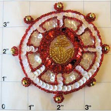 Load image into Gallery viewer, Nautical Ships Wheel with Red White and Gold Sequins and Beads 3.5""