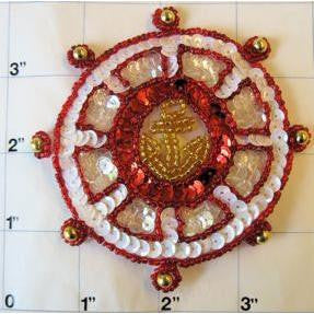 Nautical Ships Wheel with Red White and Gold Sequins and Beads 3.5