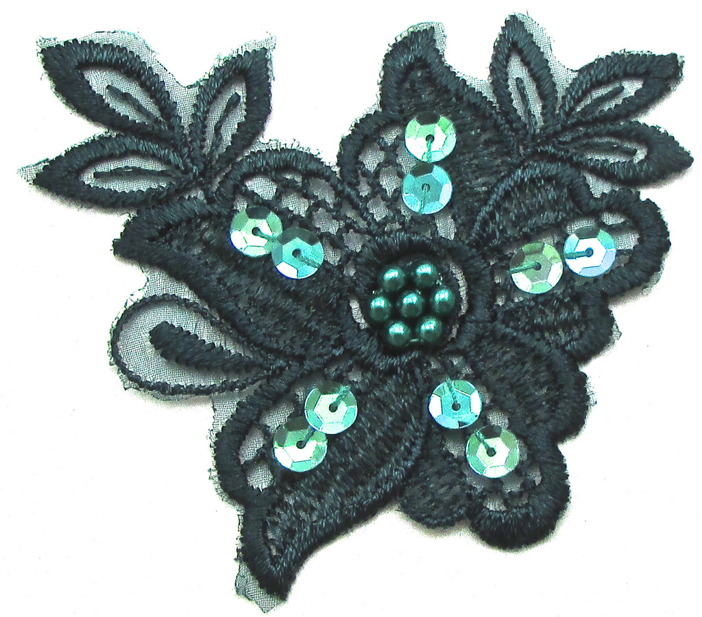 Flower Embroidered with Dark Green beads and sequins