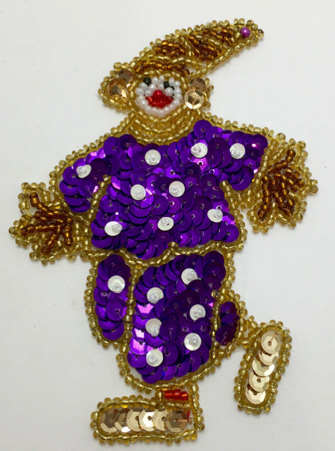"Clown with Purple Polka Dots  4"" x 3"""
