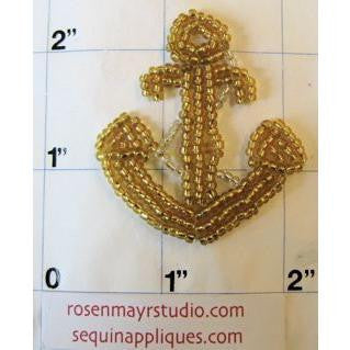 "Anchor with Gold Beads 2"" x 1.5"" - Sequinappliques.com"