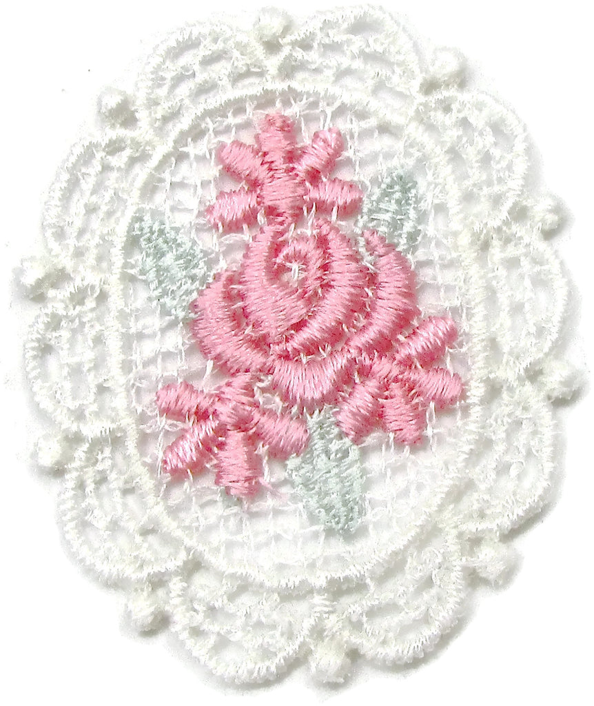 "Flower Embridered Pink and White 2"" x 1.5"""