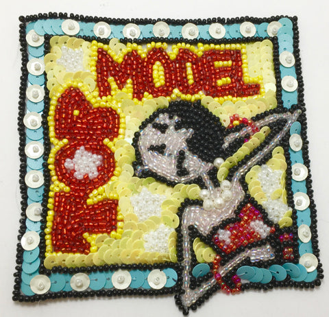 "TOP MODEL Cartoon Patch Multi-Colored Sequins and Beads 4"" x 4"""
