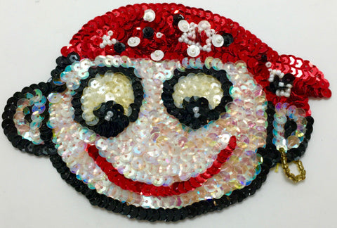 "Cartoon Face with Pirate Bandanna and Ear Ring 5"" x 4"""
