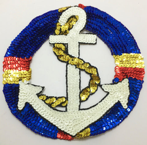 Anchor  Patch In Two Sizes Multi-Colored Sequins and Beads