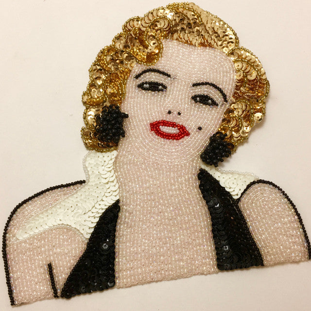 "Movie Star Diva Lady with Beads and Sequins  7"" x 7"""
