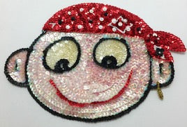 "Cartoon Face  White Sequins with Pirates Scarf 5.5"" x 8.5"""