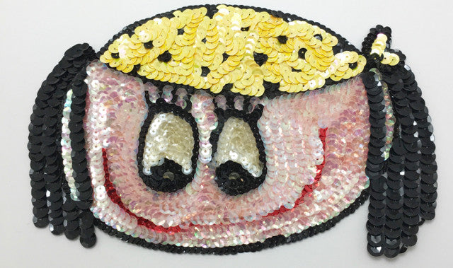 "Cartoon Girl Face with Yellow Hat, Iridescent Face, Sequin Beaded  8"" x 5"""
