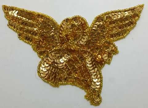 "Angel with Bright  Gold Sequins and Beads 4"" x 6"""