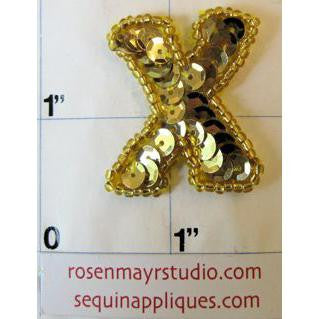 Letter X with Gold Sequins and Beads 1.25""