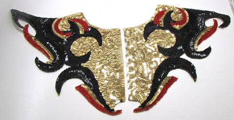 Full Costume Designer Motif Embellishment 8 Piece Set, Gold, Black and Red Sequins and Beads