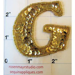 Letter G Gold Sequins and Beads 2.25""