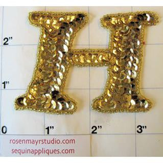 Letter H Gold Sequins and Beads 2.25