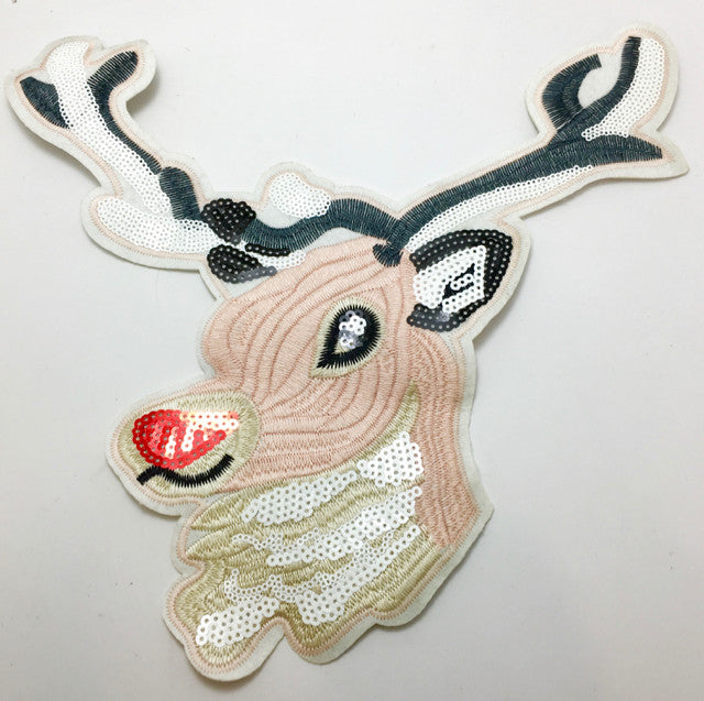 "Reindeer Pink Beige Embroidery with Sequins 12.5"" x 12"""
