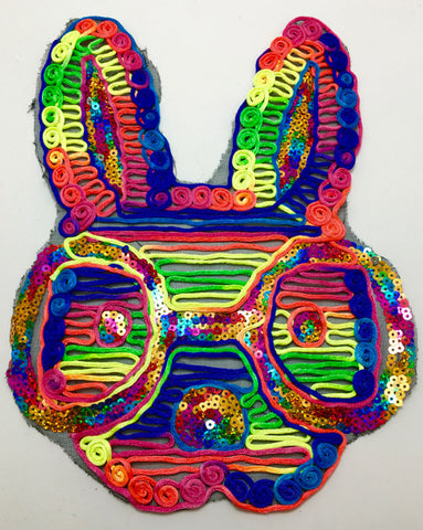 "Rabbit with Multi-Colored Embroidery and Sequins 12"" x 9"""