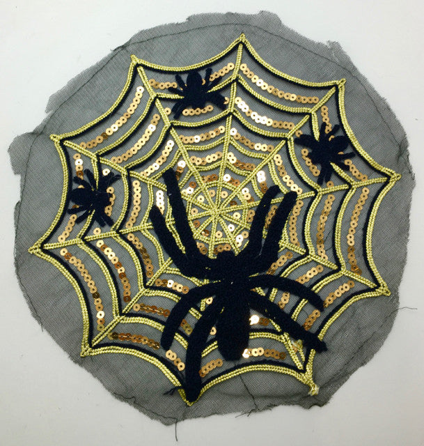 "Spider for Halloween Black Felt on Gold Sequins and Gold Metallic Rope Thread 10"" Round"