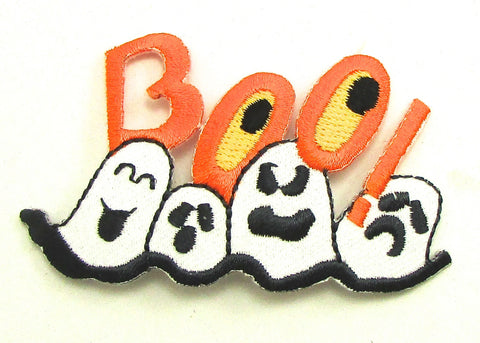 "BOO with Four Ghosts Embroidered Iron-On 1.5"" x 3"""