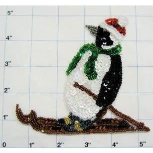 "Penguin Skiing 5"" X 5"""