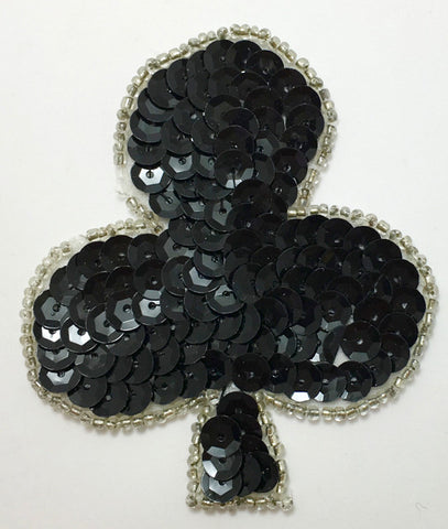 "Club Card Suit with Black Sequins and Silver or Black  Beads 3"" x 2.5"""