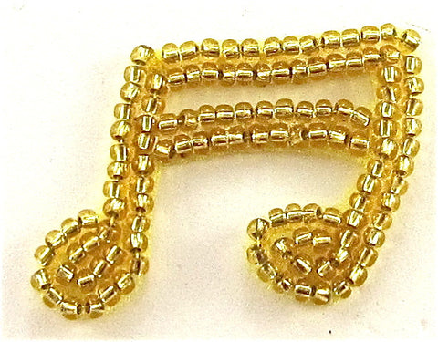 "Double Note Tiny with Gold Beads 1"" x 1.25"""