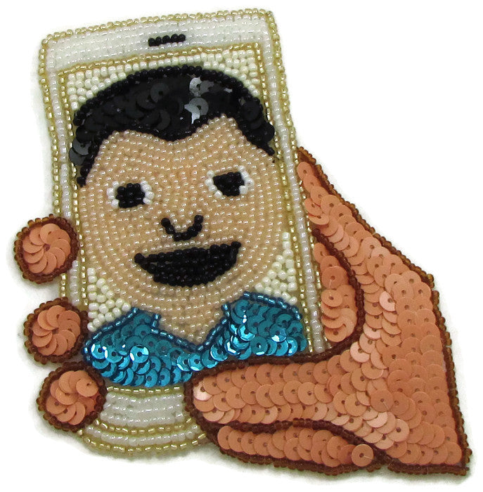 "Cell Phone Selfie Emoji with Multi-Colored Sequins and beads 4"" x 4"""