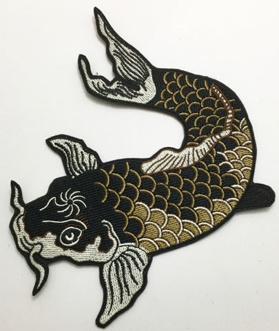 "Carp With Blacks Tans White Embroidery 8"" x 6.5"""