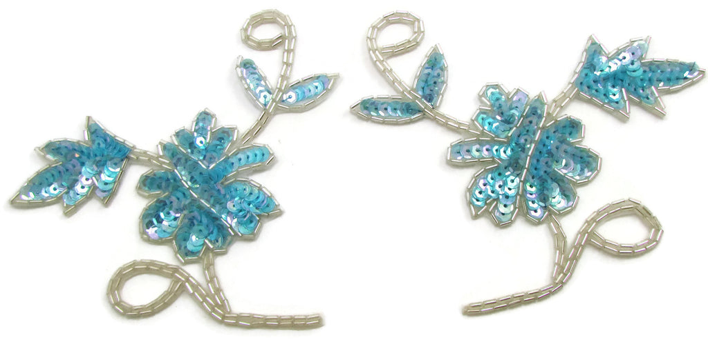 "Flower Pair Dainty with Six Different Color Choice Sequins and Silver Beads 4.5"" x 5"""