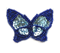 "Butterfly with Blue Sequins and Beads 2.5"" x 2"""
