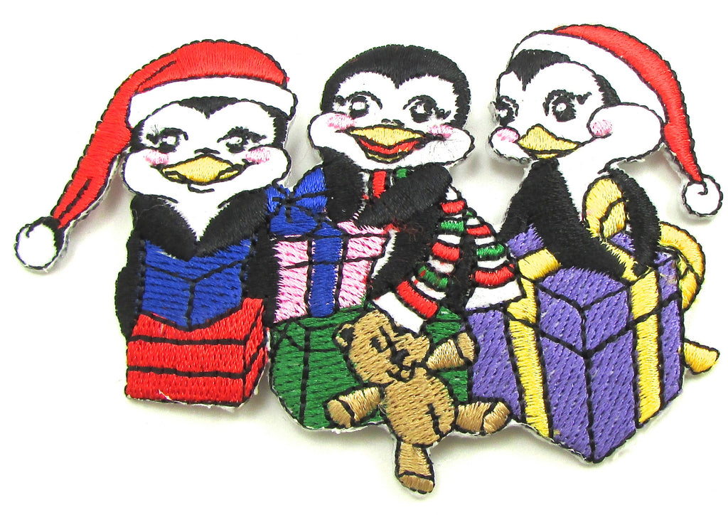 "Penquins with Christmas Presents and Santa Hats 2.5"" x 3.5"""