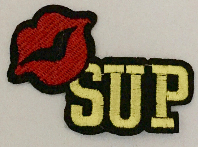 "LIPS SAYING W' SUP  Embroidered Iron-On 3"" X 2"""