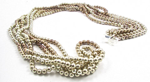"Beads on a String 60"" long Three Sizes Silver Bronze Tarnished"