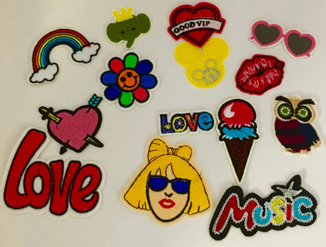 Novelty Assortment of Embroidered Iron-on Patches, up to 3""