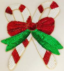 Candy Cane with Bow  Red white and Green Sequins with Gold Trim Three Sizes
