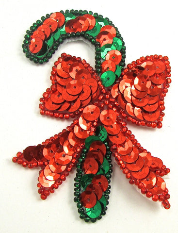 "Candy Cane with Ribbon Green Red Sequins and Beads 3"" x 2.25"""