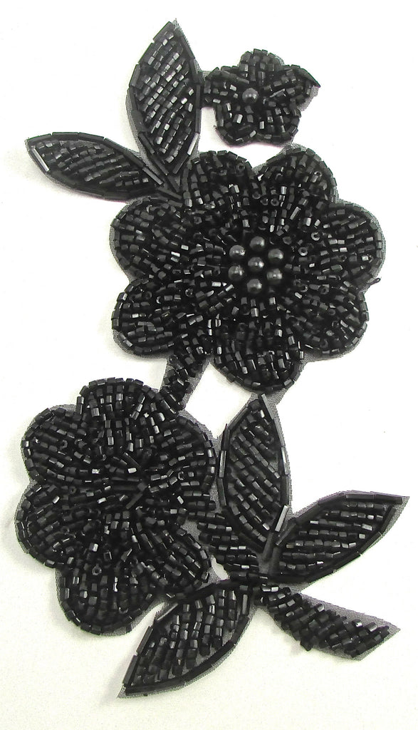 "Flower with Black Beads 6"" x 3"""