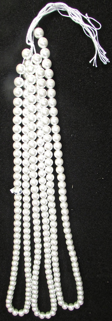 "Pearl Beads on a String  White Large Each Strand is 28"" long 1/2""approx"