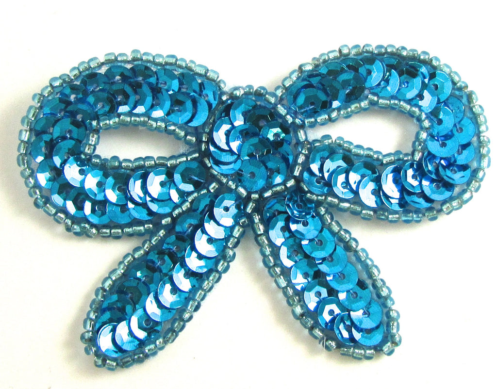 "Bow with Turquoise Sequins and Beads 2"" x 3"""