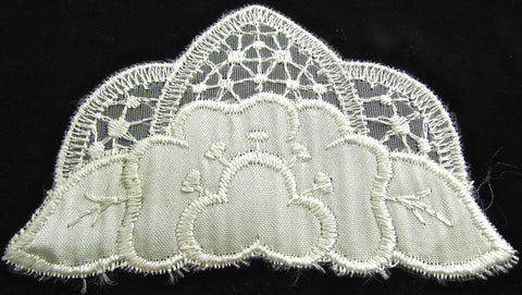 "Designer Motif White Silk Applique 2.5"" x 3.5"""