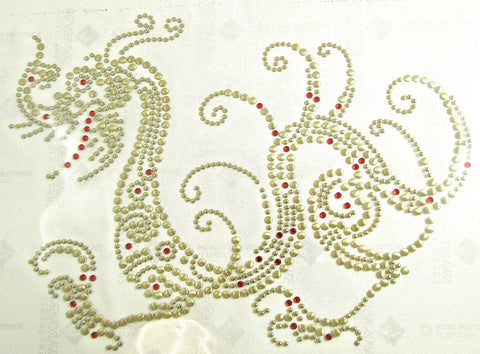 "Dragon Mezzo Transfer Iron-On  with Gold and Red Crystals 6.5"" x 8.5"" approx"