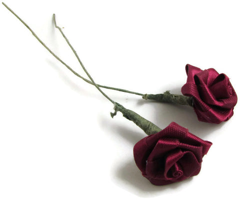 Flower Set of Two Maroon Roses Embroidered with Stem 1""