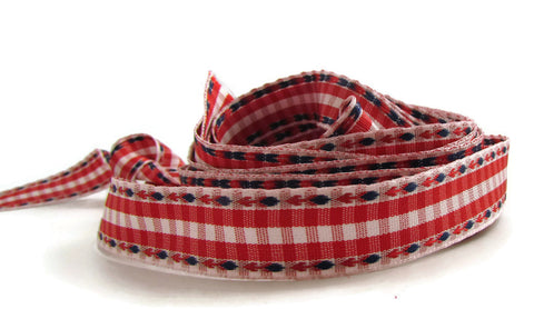 Ribbon with Red White and Blue Paid Checks, 3.5 yard remnant .5""