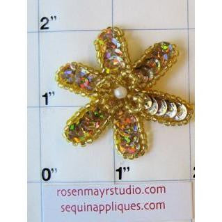 Flower Gold Sequins with pearl ,1""