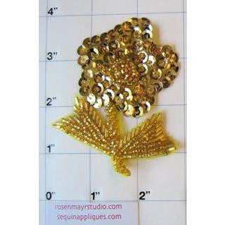 "Flower Single with Gold Sequin and Beads 4"" x 3"""