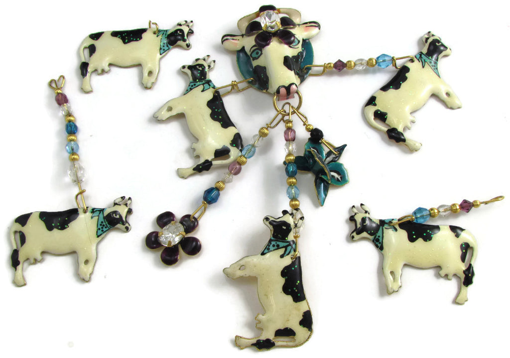 "Cow Set Earrings Metal and Beads for Craft Projects,  Cow Sizes 1"" x 1.5"""