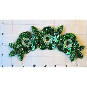 "Triple Flower Green with Sequins and Beads 7.5"" x 3"""