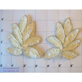 "Leaf Pair with Creamy White Sequins and Silver Beads 4"" x 3"""