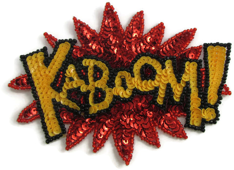 "KABOOM! Reds, Orange, Yellow Sequins and Beads 7.5"" X 6"""