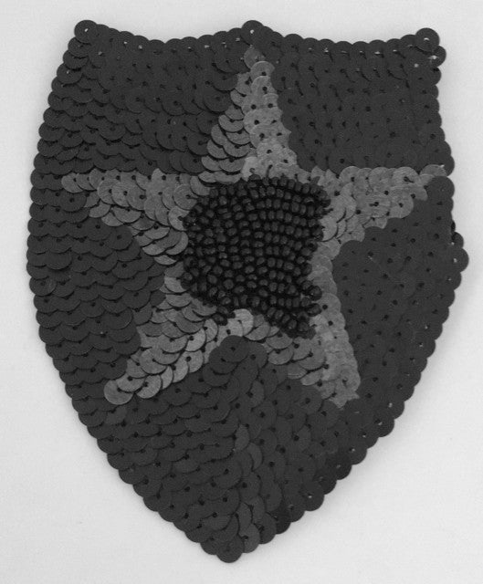"Shield Patch with Black Laser Spotlight Sequin Star, Black Sequins and Beads 3.5"" x 4.5"""